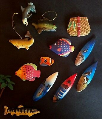 NEW 11 pcs, miniature wood SURFBOARDS, FISH, DOLPHIN, Beach & Sea Decor
