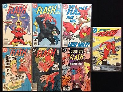 FLASH Lot of 7 DC Comic Books - #329 330 331 332 336 350 (Last Issue), V2 #1!