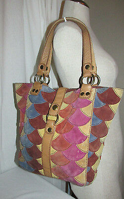 Lucky Brand Multi Color Suede Patchwork Leather Purse Shoulder Bag Tote Hobo