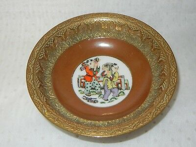 "CHINESE PORCELAIN & BRASS DISH HAND PAINTED HIGHLY DETAILED EDGE 4.1/2"" / 11.5cm"