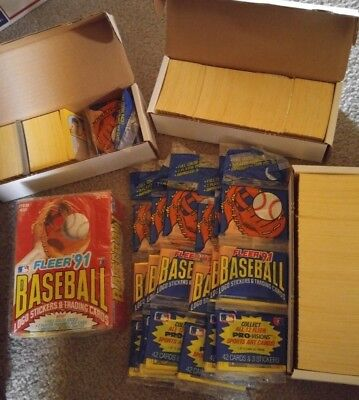1991 Fleer baseball card lot unopened factory sealed box, packs and partial set