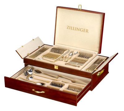 Heavy 72 Piece Stainless Steel Silver Detail Supreme Quality Cutlery Canteen Set