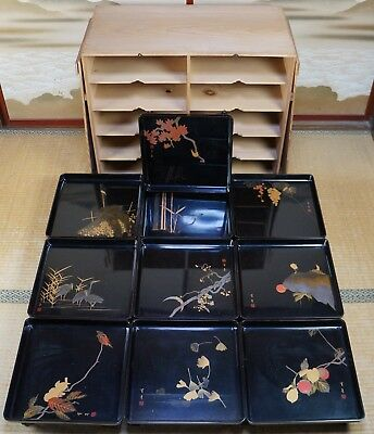 Antique Wajima Japanese Obon lacquered wood tray table 1900 Japan lacquer