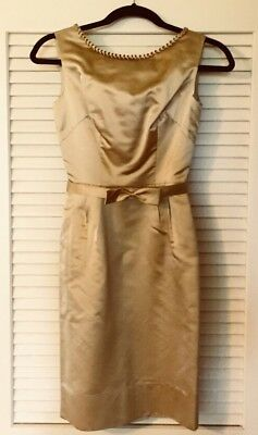 Vintage 1950s COUTURE for SURE GOLD SILK FITTED SHEATH DRESS   30-22-31 XXXS