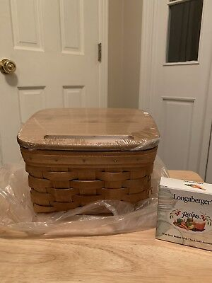 Longaberger Large Recipe Basket Set W/lid New