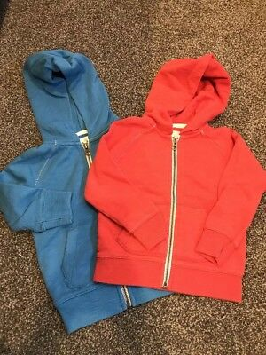 Country Road Boys Hooded Zip Sweater Red Blue Size 2 As New