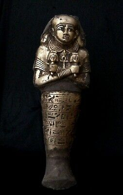 EGYPTIAN STATUE ANTIQUES EGYPT King Amenemhat Ankh USHABTI GOLD Plated STONE BC