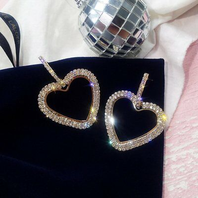 Luxury Women Heart Earrings Lady Crystal Geometric Ear Hoop Jewelry Party Crown