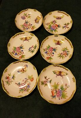 6 HEREND PORCELAIN HANDPAINTED QUEEN VICTORIA TEA SET saucers only - 6 saucers