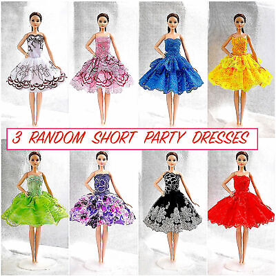 Brand new barbie doll clothes clothing 3 random dresses party summer dress