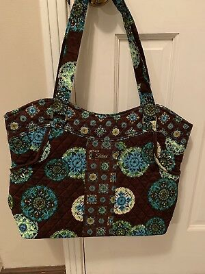 ADORN Turquoise & Brown Sisters STACIE Quilted Tote Bag Purse Longaberger
