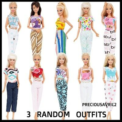 New Barbie doll clothing sets 3 random outfits casual  top pants