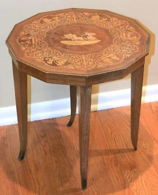 Vintage Dodecagon 12 Sided Parquetry Inlaid Walnut Side Table Sorrento Italy