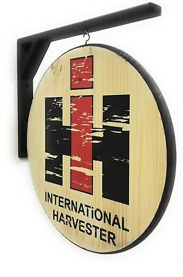 "International Harvester Wood Sign - 2-Sided 18"" Diameter-Includes Wall Bracket"