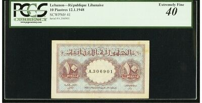 Lebanon 10 PIASTERS 1948 PCGS 40 EF French Colony Bank Note Rare Date Pick 41