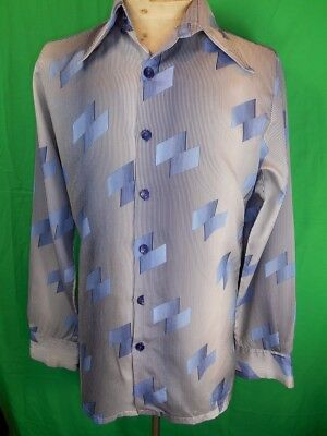 Vintage 1960s 70s Blue Patterned Polyester Hosma Long Sleeve Disco Party Shirt M