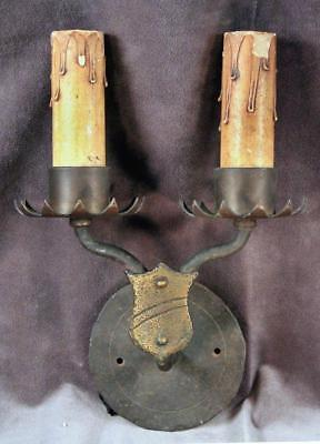 Antique Vintage Gothic Mission Hand Wrought Electric Wall Sconce Arts & Crafts