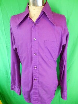 Amazing Vintage 1960s 70s Purple 'Mach II' by Arrow Poly/Cotton Dress Shirt M