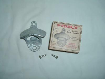 VINTAGE STARRX STAIONARY BOTTLE OPENER ORIGINAL BOX bY BROWN MFG CO W/ SCREWS