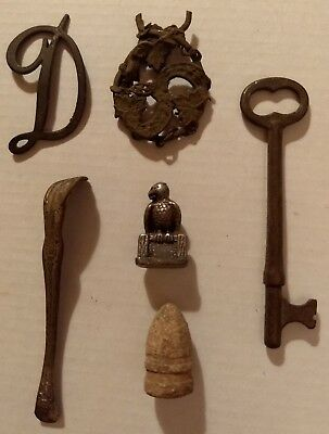 Metal Detector Finds Old Key Bullet Tea Or Coffee Stirrer Eagle Figurine +