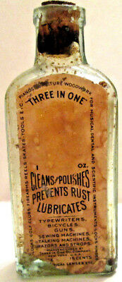 "Antique ""3 in 1"" or ""Three In One"" Oil Bottle, With Cork Stopper & Paper Label"