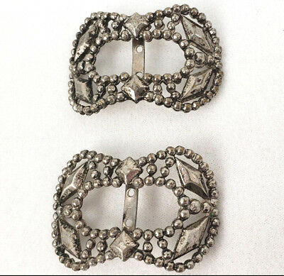 "Pair of Old Steel Buckles Victorian / Deco 1900's Antique Vintage 2"" x 1 3/8"""