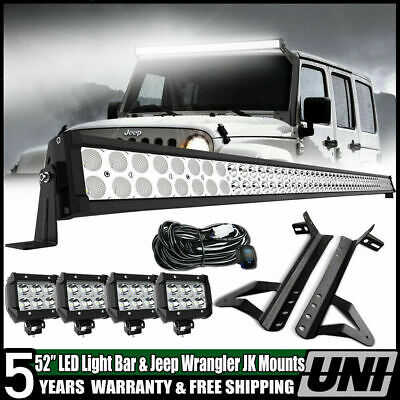 "52"" 700W LED Light Bar+4x 18W Pods+ Mount Bracket Fit For Jeep Wrangler JK 50"