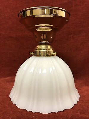 Milk Glass Ceiling Light Brass Fixture Victorian Antique Art Nouveau Vintage