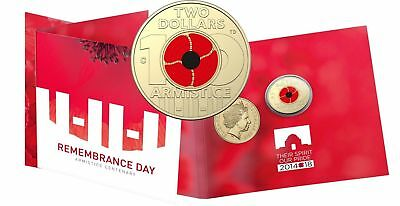 "Free Post -  2018 $2 ""C"" Armistice - Remembrance Day Coloured Unc Coin Onto Card"