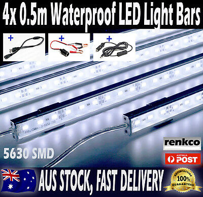 4X12V Waterproof Cool White 5630 Led Strip Lights Bars Camping Boat Car Caravan