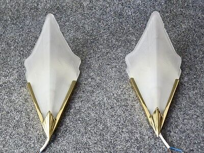 Pair of Art Deco Style Vintage Wall Lights Glass Retro Lamp Sconces Ikea