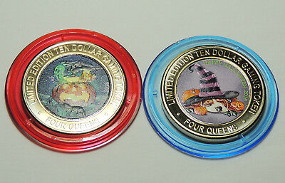 """NEW Four Queens Casino """"HALLOWEEN 2018"""" Set of 2 Silver Strike $10 Gaming Tokens"""