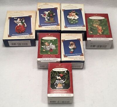 NOS 7pc HALLMARK Keepsake Ornament MISCHIEVOUS KITTENS Collector's Series Lot