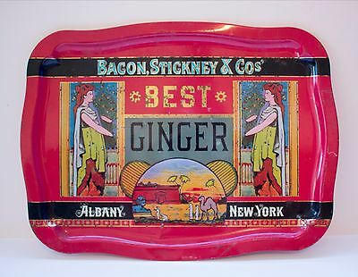 BEST GINGER Red Metal TIN Serving Tray New York ENGLAND Harry's Grociery REPLICA