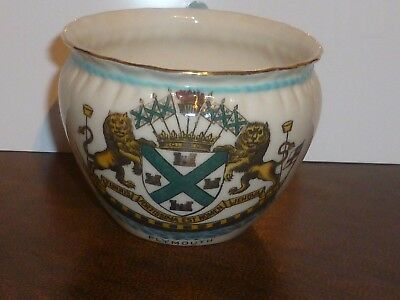 WH GOSS Crested China Large Bagware Tea Cup. Crest of Plymouth