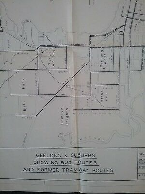 Former Tramway Routes and Bus Routes Geelong and Suburbs..Map 1968