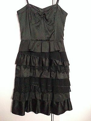 Worn Once, As New Black Multi- layered Mini Dress in size 6 by Elly M