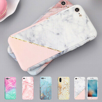 Case for iPhone X XR XS Max 6 7 8 Plus 5 Cover 360 Marble Thin Shockproof Hybrid