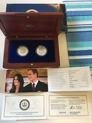 2011 50c SELECTIVELY GOLD PLATED SILVER PROOF SET - ROYAL WEDDING COIN SET
