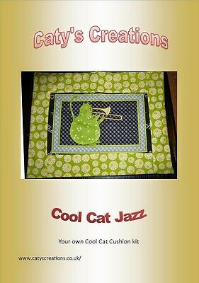 sewing kit cushion 30x50cm quilting 100% cotton material cool cat jazz green