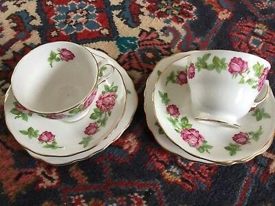 Royal Vale pink rose trios x2; delightful vintage pieces