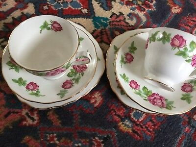 Stunning Royal Vale pink rose trios x2; delightful vintage pieces