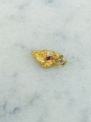 W.A Natural Gold Nugget & Synthetic Ruby Set Charm/Pendant #4
