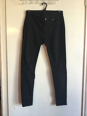 Cheap Monday Black Mid Rise Jeans With Ripped Knees