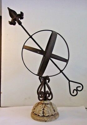 """Vintage  Cast Iron Figural Armillary Sphere with stone base 15 1/2"""" tall"""