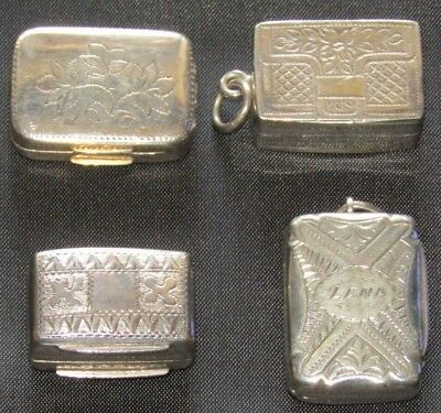 Collection of 4 Very Small Antique Hallmarked Vinaigrette - 19th C - SP 1809 etc
