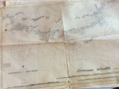 Vintage Nautical Chart Marseille to Agay Road, 16 Oct 1893