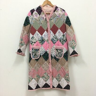 Vtg 1960s HANDMADE Housecoat Gown/Bed Jacket Patchwork Psychedelic 70s KITSCH