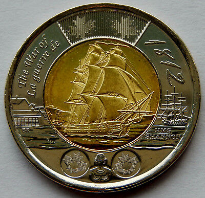 "2012 Canada ""War of 1812"" HMS Shannon 2 Dollar Coin BU Uncirculated  SB183"