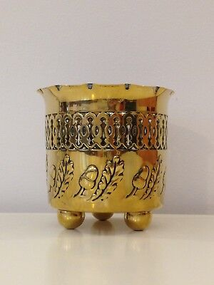 Antique Arts and Crafts J. Sankey Art Nouveau, Small Brass Cache Pot
